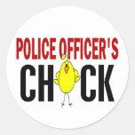 El polluelo 1 del oficial de policía pegatinas redondas