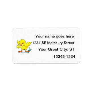 el polluelo amarillo que sostiene la flor se va vo etiqueta de dirección