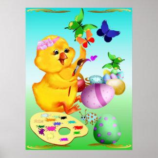 El polluelo de Pascua pinta el poster