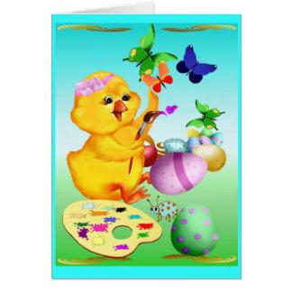 El polluelo de Pascua pinta la tarjeta