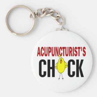 El polluelo del Acupuncturist Llavero Redondo Tipo Pin