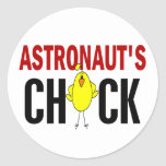 El polluelo del astronauta pegatina redonda