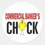 El polluelo del banquero comercial etiqueta redonda