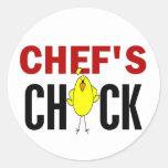 El polluelo del cocinero etiquetas redondas