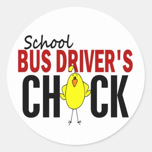 El polluelo del conductor del autobús escolar pegatina redonda