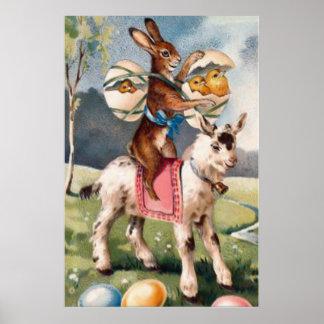 El polluelo del conejito de pascua coloreó la cabr póster