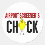 El polluelo del cribador del aeropuerto pegatina redonda