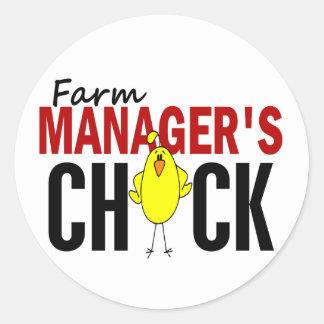 El polluelo del encargado de la granja etiquetas redondas