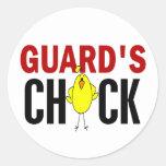 El polluelo del guardia pegatina redonda