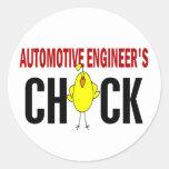El polluelo del ingeniero automotriz pegatina redonda