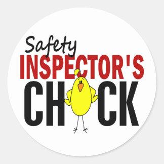 El polluelo del inspector de la seguridad pegatina redonda