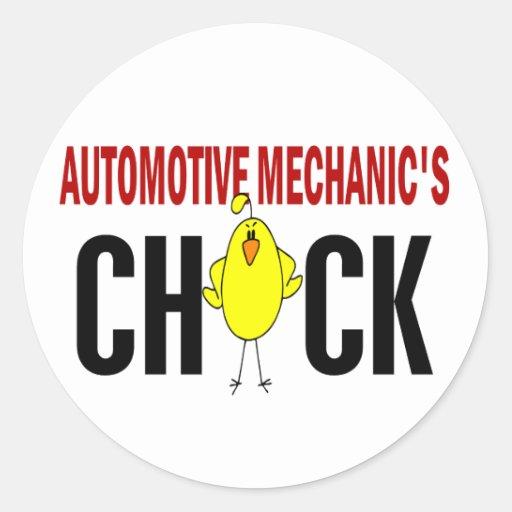 El polluelo del mecánico automotriz etiquetas redondas