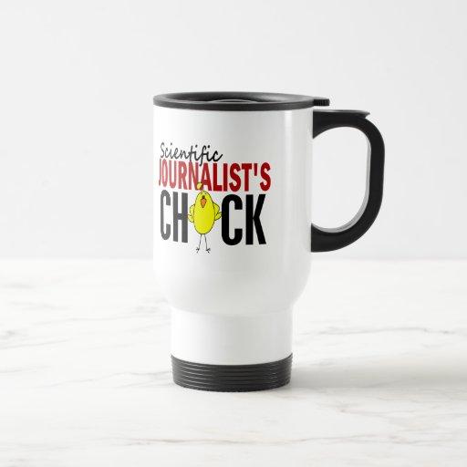 El polluelo del periodista científico tazas de café