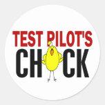 El polluelo del piloto de prueba etiqueta redonda
