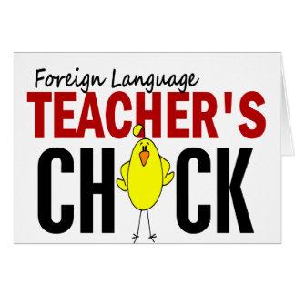 El polluelo del profesor del idioma extranjero felicitación