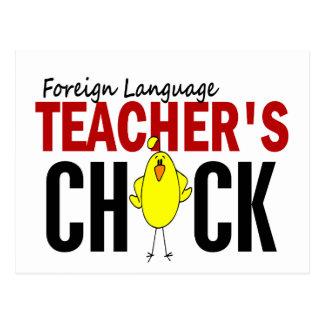 El polluelo del profesor del idioma extranjero tarjeta postal