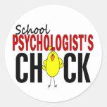 El polluelo del psicólogo de la escuela pegatinas redondas