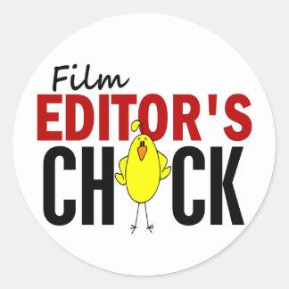 El polluelo del redactor de la película pegatina redonda
