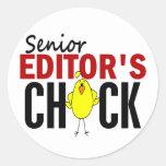 El polluelo del redactor mayor etiqueta redonda