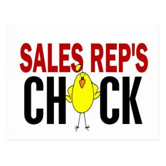 El polluelo del representante de las ventas tarjetas postales