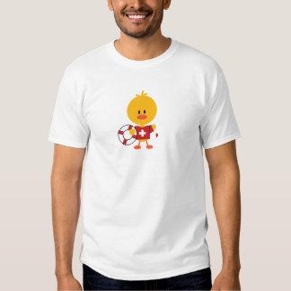 El polluelo del salvavidas embroma la camiseta del playeras