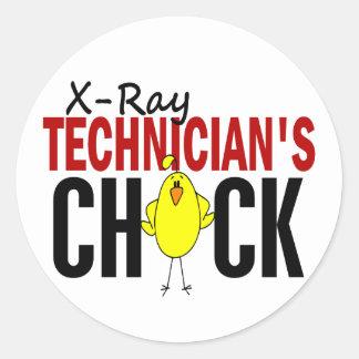 El polluelo del técnico de la radiografía etiquetas redondas