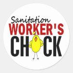 El polluelo del trabajador del saneamiento pegatinas redondas
