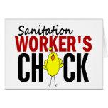 El polluelo del trabajador del saneamiento tarjeton