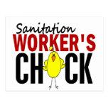 El polluelo del trabajador del saneamiento tarjeta postal