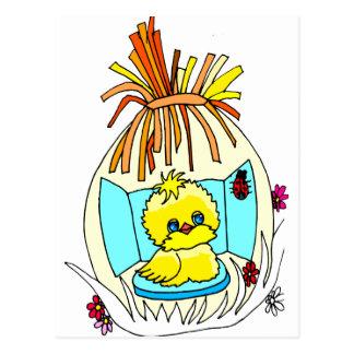 el polluelo en pascua envolvió mariquitas de la ce postal