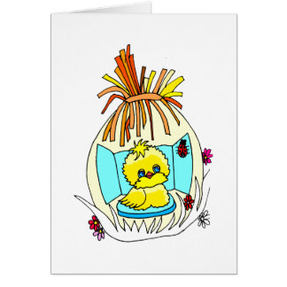 el polluelo en pascua envolvió mariquitas de la tarjeta pequeña