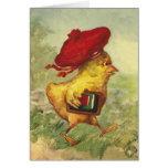 El polluelo en una boina roja vuelve a la escuela felicitacion
