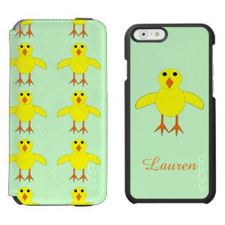 El polluelo lindo de Pascua personalizó la caja Funda Billetera Para iPhone 6 Watson