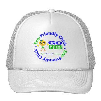 El polluelo respetuoso del medio ambiente va verde gorros bordados