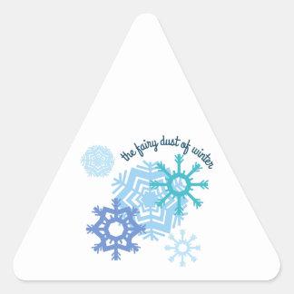 El polvo de hadas del invierno calcomanía de triangulo