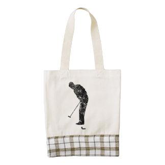 El poner del golfista del vintage bolsa tote zazzle HEART