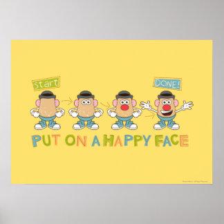 El poner en una cara feliz póster