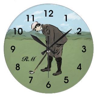El poner personalizado del golfista del estilo del reloj redondo grande