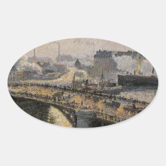 El Pont Boieldieu, Ruán, puesta del sol, tiempo Pegatina Ovalada
