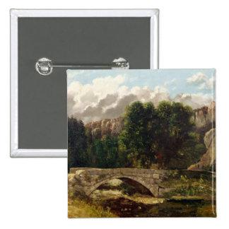 El Pont de Fleurie, Suiza, 1873 Pin Cuadrada 5 Cm