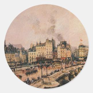 El Pont Neuf 2 de Camille Pissarro Pegatina Redonda