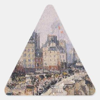 El Pont Neuf 2 de Camille Pissarro Pegatina Triangular