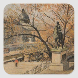 El Pont Neuf de Camille Pissarro Pegatina Cuadrada