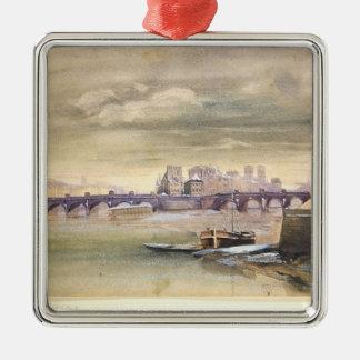 El Pont-Neuf y el Ile de la Cite, 1881 Adorno Navideño Cuadrado De Metal