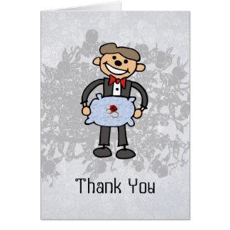 El portador de anillo le agradece asistente del bo tarjeta de felicitación
