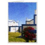 El portugués azul y blanco contiene la tarjeta en