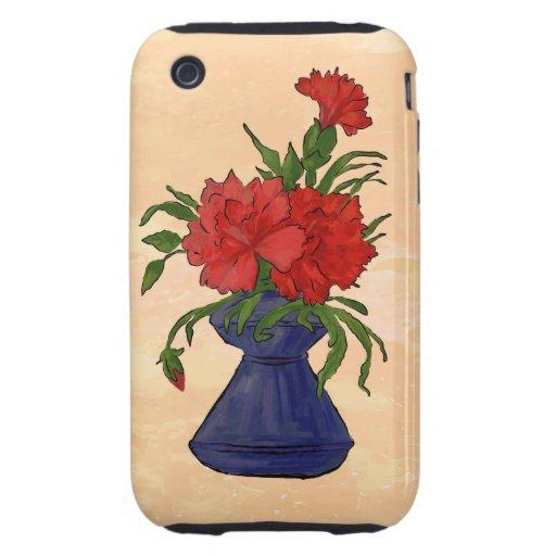 El posie floral rojo con verde se va en antigüedad iPhone 3 tough protector