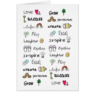 El positivo redacta la tarjeta de felicitación