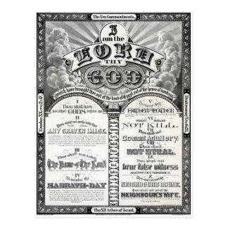 El poster 1876 del vintage de diez mandamientos tarjeta postal