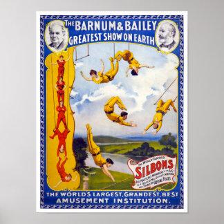 El poster 1896 del vintage de Barnum y de Bailey